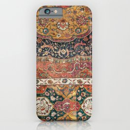Persian Medallion Rug IX // 16th Century Distressed Red Green Blue Flowery Colorful Ornate Pattern iPhone Case
