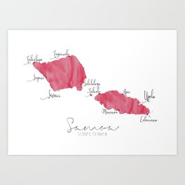 Samoa Labelled Map // Bright Pink Watercolour Art Print