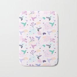 Hummingbird and flower pastel petal pattern Bath Mat