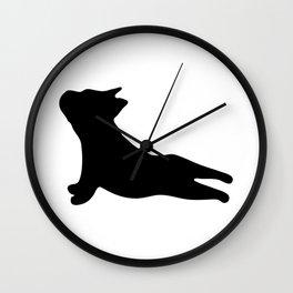 French Bulldog. Puppy Silhouette. Yoga Puppy Wall Clock