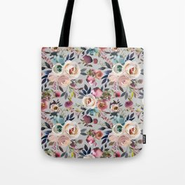 Blush Pink Peonies with Gray Tote Bag