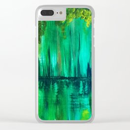 Green reflection Clear iPhone Case