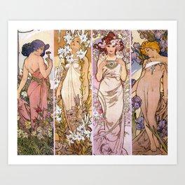 "Alfons Mucha, "" four flowers "" Art Print"