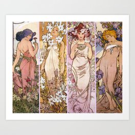 "Alfons Mucha, "" four flowers "" Art Print"