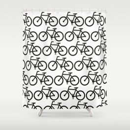 Bicycle Stamp Pattern - Black and White - Fixie Fixed Gear Bike Shower Curtain