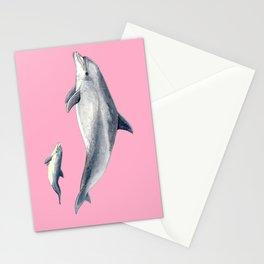 Bottlenose dolphin pink Stationery Cards