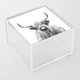 Black and White Highland Cow Portrait Acrylic Box