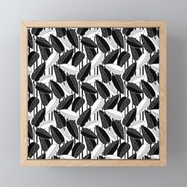 Black and white leaves Framed Mini Art Print