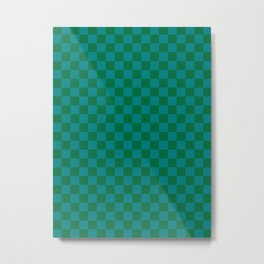 Teal Green and Cadmium Green Checkerboard Metal Print