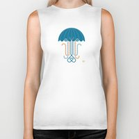 jelly fish Biker Tanks featuring Jelly the Fish by Kirsten Ulve