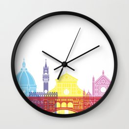 Florence skyline pop Wall Clock