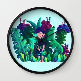 Floral Jungle Frida Kahlo Colorful Illustratration Wall Clock