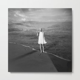 Morning Walk in Maui, Hawaii Black and White Double Exposure Metal Print