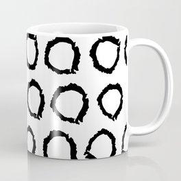 Classic vintage pattern with polka dot circles, texture grunge crayons ink Coffee Mug