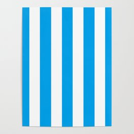 Microsoft blue - solid color - white vertical lines pattern Poster