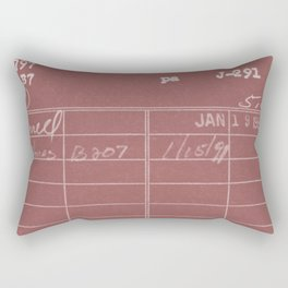 Library Card 797 Negative Red Rectangular Pillow