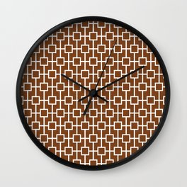 Chocolate Brown Lattice Pattern Wall Clock