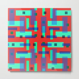 Blue and Green Block City on Red Metal Print