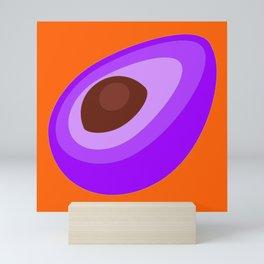 Purple Avocado On Orange Background Art Simple Colourful Decor Gift Idea Mini Art Print
