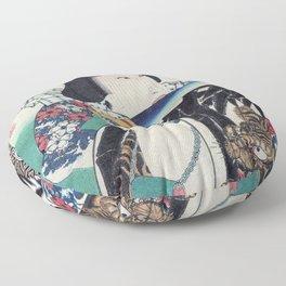 Kunichika Tattooed Warrior with Sayagata Pattern Background Floor Pillow