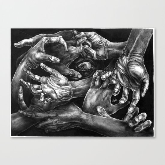 Getting Handsy (smothering, groping, hands) Canvas Print