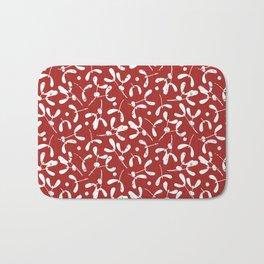 Rustic Mistletoe - Red Bath Mat