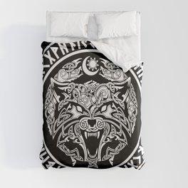 Viking Fenrir Emblem - Wolf Norse Mythology Duvet Cover