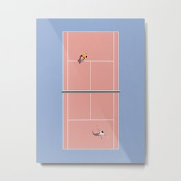 Playing Tennis | Pastel Colors Tennis Court  Metal Print