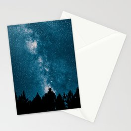 Blue Milky Way At Night Pine Tree Silhouette Stars Night Time Stationery Cards