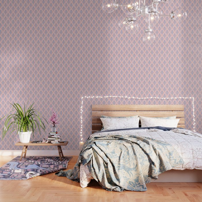 Damask Pattern | Vintage Patterns | Rose Quartz | Serenity | Pantone Colors of the Year 2016 Wallpaper