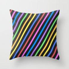 Purple Yellow Blue Black trippy stripes Throw Pillow