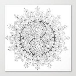Black and White YinYang Mandala Canvas Print