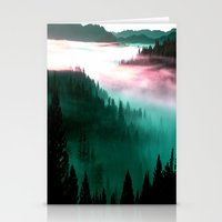 mountains Stationery Cards featuring Misty Mountains Morning : Magenta Mauve Teal by 2sweet4words Designs