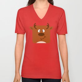 Cute Square Cartoon Reindeer Unisex V-Neck