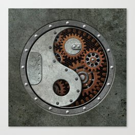 Industrial Steampunk Yin Yang with Gears Canvas Print