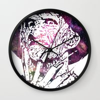 freddy krueger Wall Clocks featuring Galaxy Robert Englund Freddy Krueger by Cookie Cutter Cat Lady
