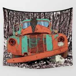 Old speed wagon with a wolf skull and a hawk. Wall Tapestry