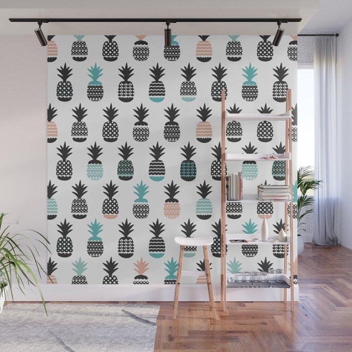 Cool pineapple summer fresh illustration pattern Wall Mural