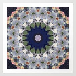 Patchwork Whimsy -- Vintage Block Quilt Mandala Kaleid0scope Art Print