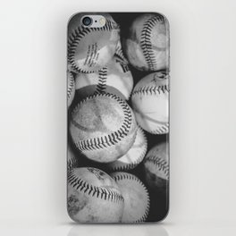 Baseballs in Black and White iPhone Skin