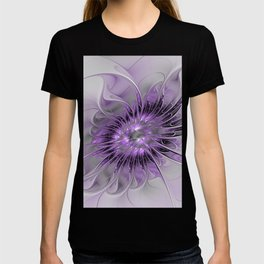 Lilac Fantasy Flower, Fractal Art T-shirt