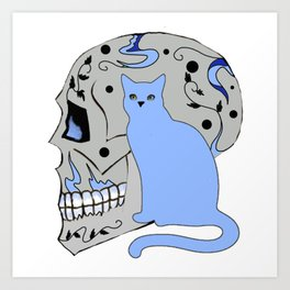 Blue Skull with Black Vines and Cat w Yellow Eyes Art Print