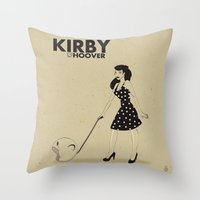 kirby Throw Pillows featuring Kirby Hoover by Lily's Factory