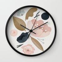 vintage flowers Wall Clocks featuring vintage flowers; by Pink Berry Patterns