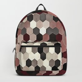 Hexagon Pattern In Gray and Burgundy Autumn Colors Backpack