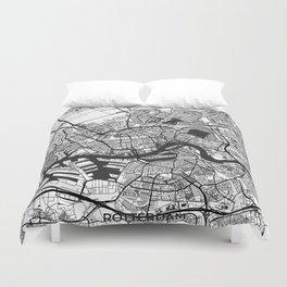Rotterdam Map Gray Duvet Cover