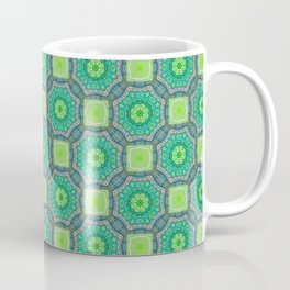 Octagon Kaleidoscope Flower in Green Turquoise and Gray Coffee Mug