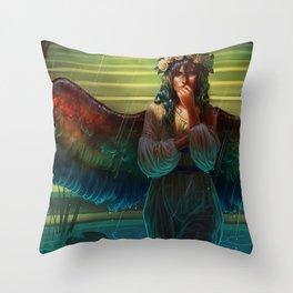 The Bird Bath Throw Pillow