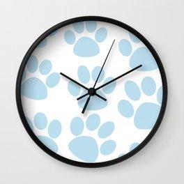 Puppy Paw Prints Blue Wall Clock