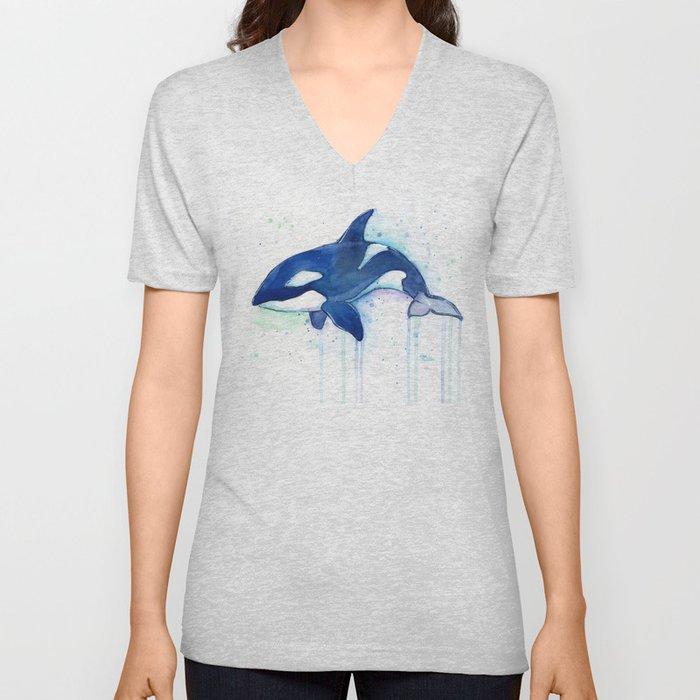 Killer Whale Orca Watercolor Unisex V-Neck